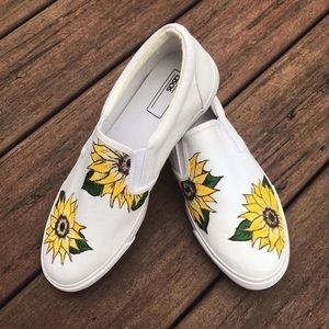 Hand painted sunflower shoes.